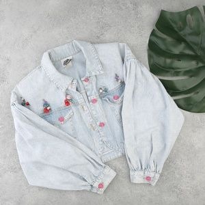 90s vintage B.Boxers floral cropped denim jacket